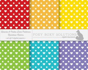 Heart & Polka Dot Digital Paper Pack - Instant Download Printables - Digital Download Printable Paper Craft Supply for Scrapbooking