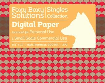 Scale Pattern on Kraft Digital Paper - Single Sheet in Red - Printable Scrapbooking Paper