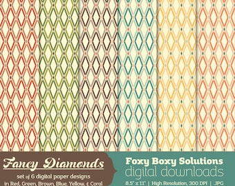 Fancy Diamond Patterns Digital Paper Pack: set of 6 digital papers, Printable Paper for Scrapbooking/Card Making, Instant Download