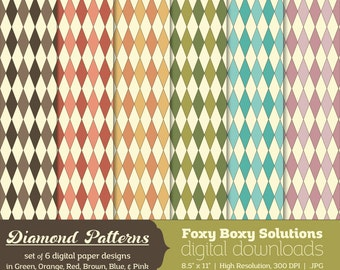 Diamond Patterns Digital Paper Pack: set of 6 digital papers, Printable Paper for Scrapbooking/Card Making, Instant Download