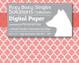 Moroccan Digital Paper - Single Sheet in Pink - Printable Scrapbooking Paper