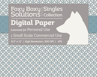Moroccan Pattern Digital Paper - Single Sheet in Blue, Gray, & White - Printable Scrapbooking Paper