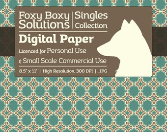 Moroccan Pattern Digital Paper - Single Sheet in Teal and Brown - Printable Scrapbooking Paper