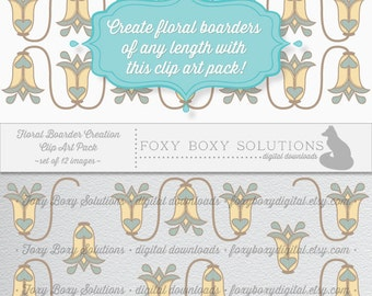 Digital Download Floral Boarder Creation - Instant Download Tulip Clipart Pack, set of 12 images - Clip Art For Crafting & Scrapbooking