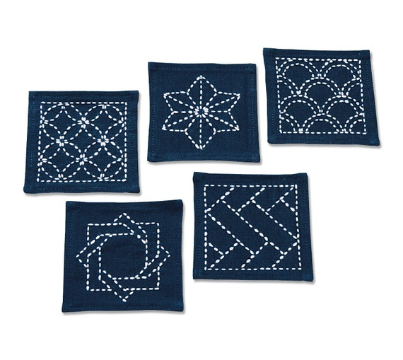Traditional Japanese Craft Olympus Sashiko Coaster Kit 5 Pcs with Cloth and Threads