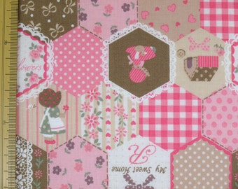 Home Sweet Home Sunbonnet Sue Design Japanese Fabric / Pink  - 50cm x 110cm