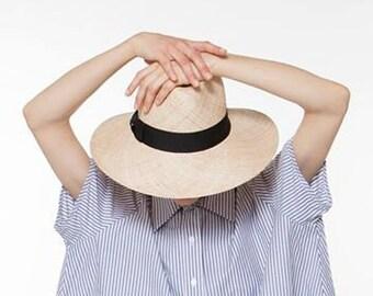 Wide brim straw hat with grosgrain band , Fedora straw hat ,  Fedora straw hat for women, straw hat for men, Summer hats , Sun Hat