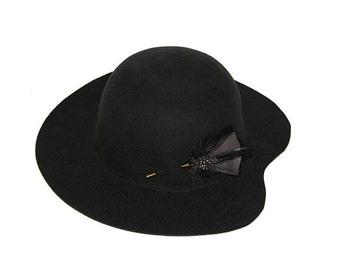 d6e932b9292f58 Women Classic hat , Dark gray felt winter autumn wide brim hat , Hat for  her , womens hat , floppy Hat