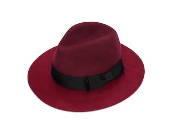 b6a07a0ea8c Two tone felt fedora hat , Winter felt hat , Women felt hat , Fedora felt  hat , Floppy felt fedora for women and for men , Custom hat