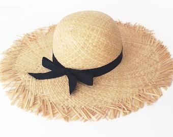 Womens wide brim straw hat Floppy sun hat Women straw hat  390fd9ff528