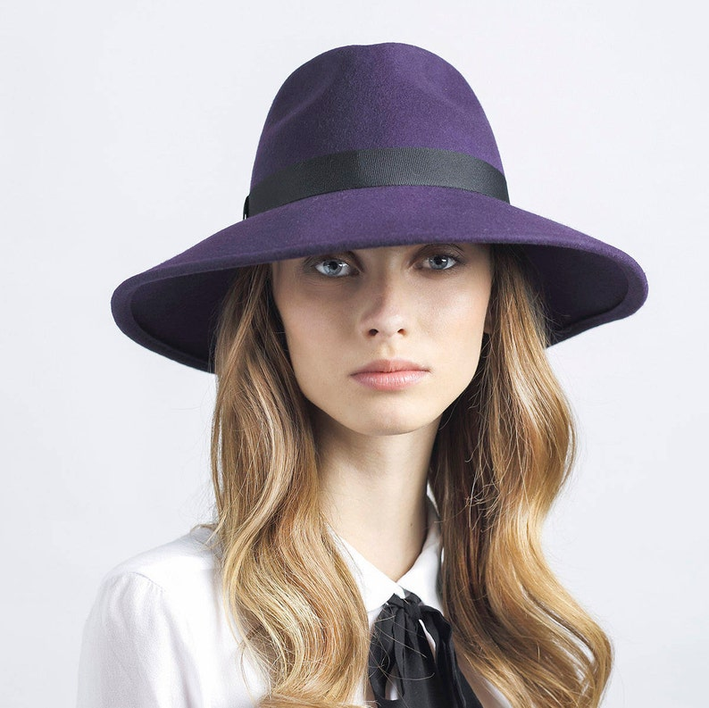 Classic wide brim felt fedora hat hats for women purple  49170693bbf