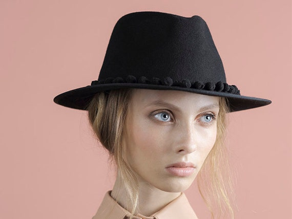 Black Pompom Fedora Hat Womens Felt Fedora Hat Winter hat  ce05112ff46