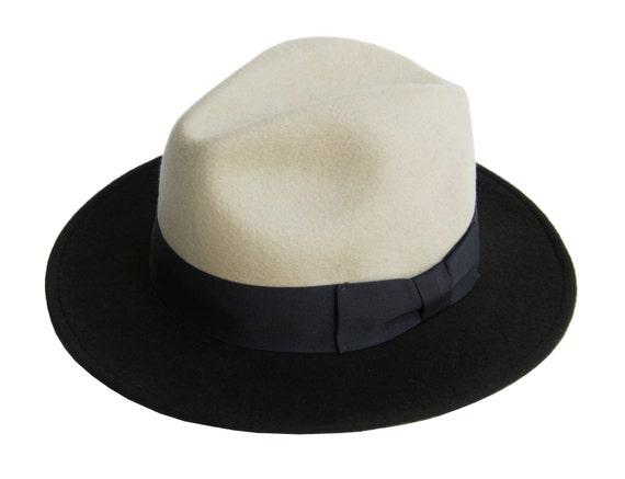 Sombrero Fedora de hombre dos tonos fieltro sombrero  4d37810056e
