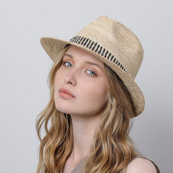 8525406ca3520 Raffia fedora straw hat Mens straw fedora hat Straw hat