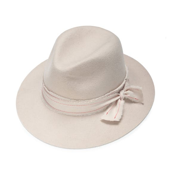 Ivory felt fedora hat with embroidered band hats for women  3d95df73dbb