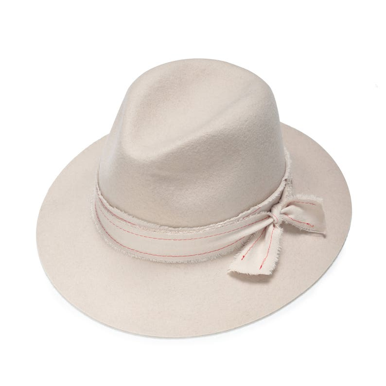 b69990cb4153b Ivory felt fedora hat with embroidered band hats for women