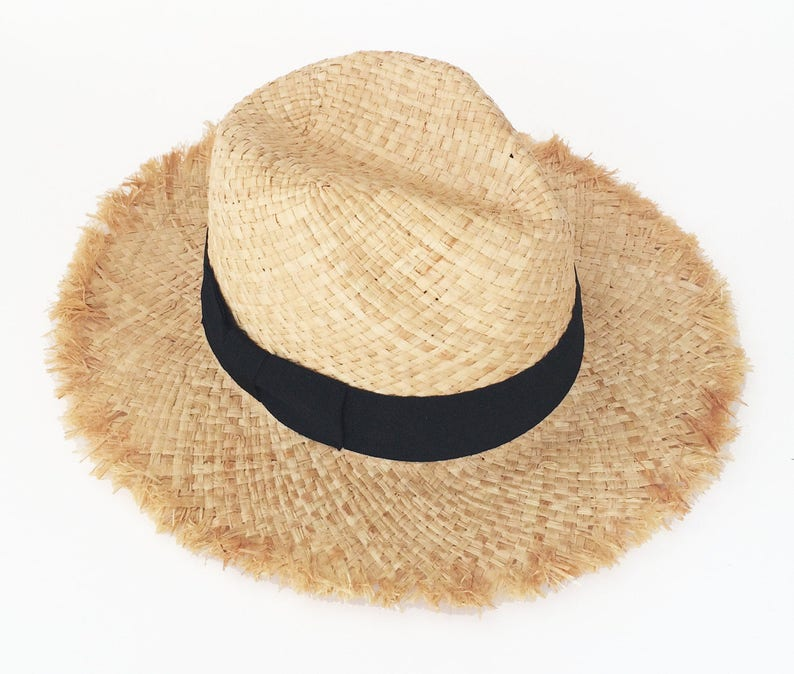 57ea0c7ed3f Summer straw hat u nraveled fedora sun hat beach hat | Etsy