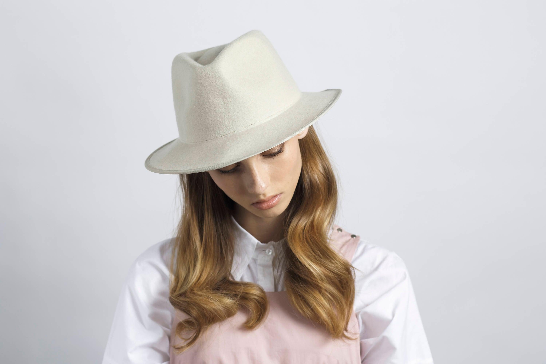 c9b030762 Classic ivory felt fedora hat , hats for women , hats for men , winter felt  hat , elegant felt hat