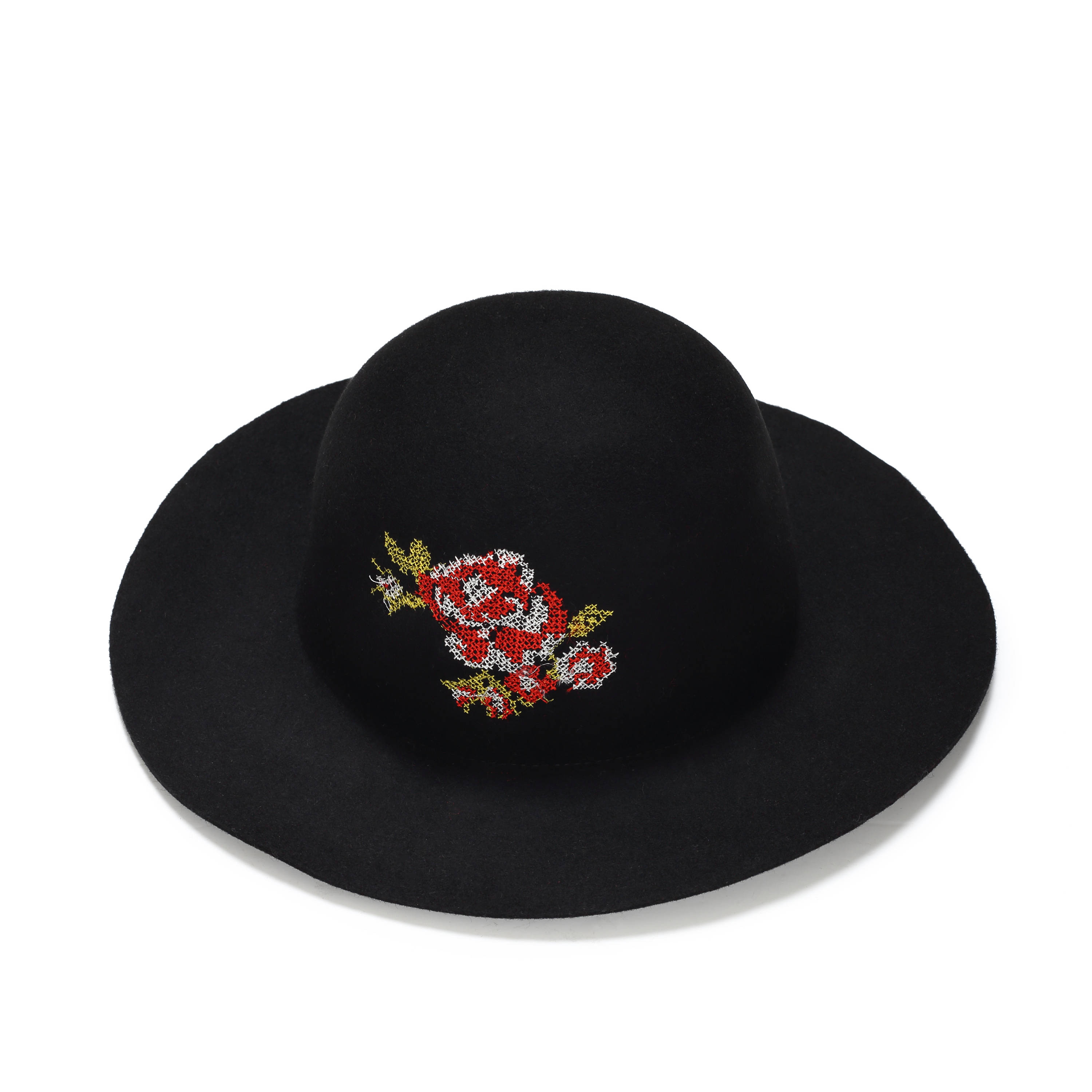 Black felt floppy hat with flower embroidery Embroidered felt  56273a429516