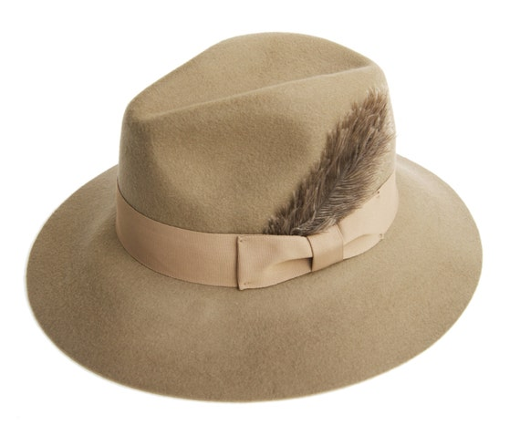 Camel Fedora Hat with Grosgrain Band And a Feather Womens  d12221d9dc1