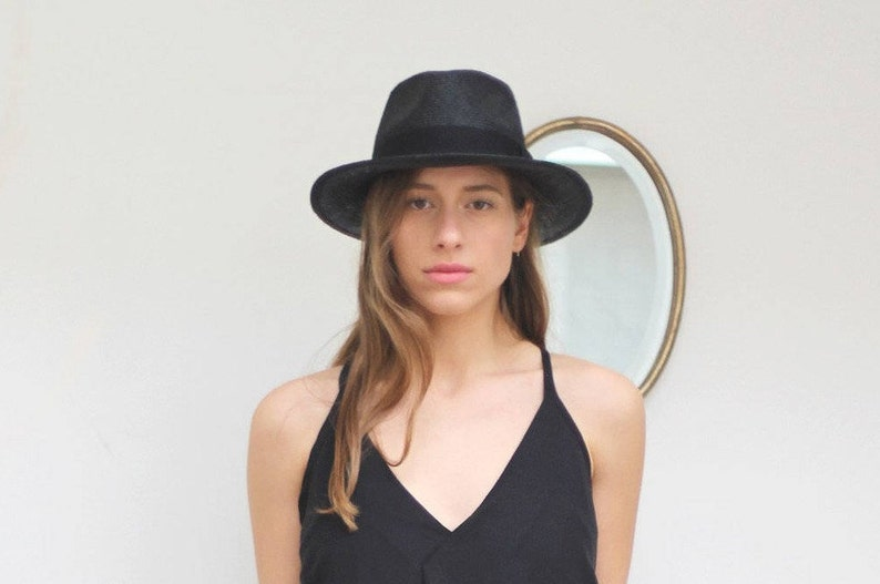 304c04caf12 Black straw fedora hat for women and for men Fedora Hat