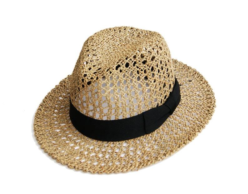 f2f4c90f Womens Straw Fedora Hat Mens Straw Fedora Hat Sun Hat   Etsy