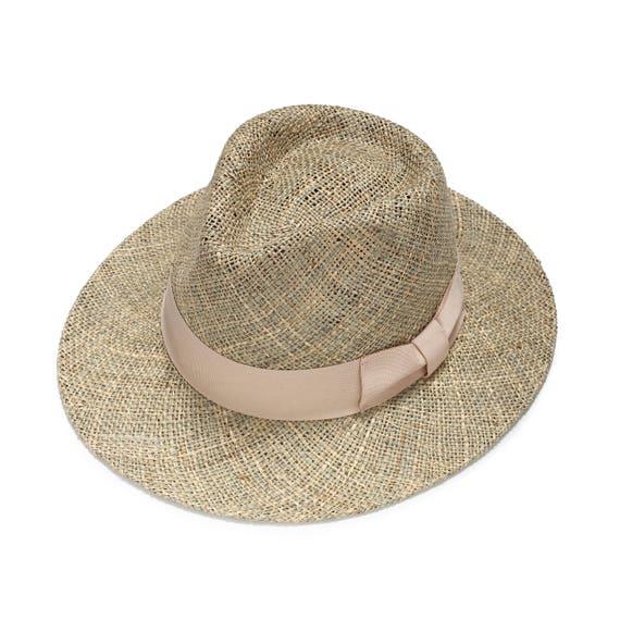 Womens classic fedora hat Summer straw hat Wide brim sun  da996f4c464
