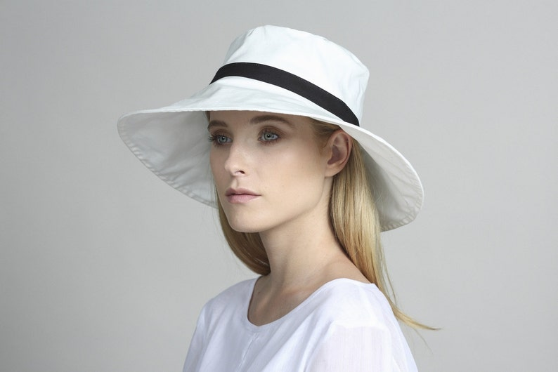 White cotton hat Womens summer hats Womens hat Beach hat  4acf5f175