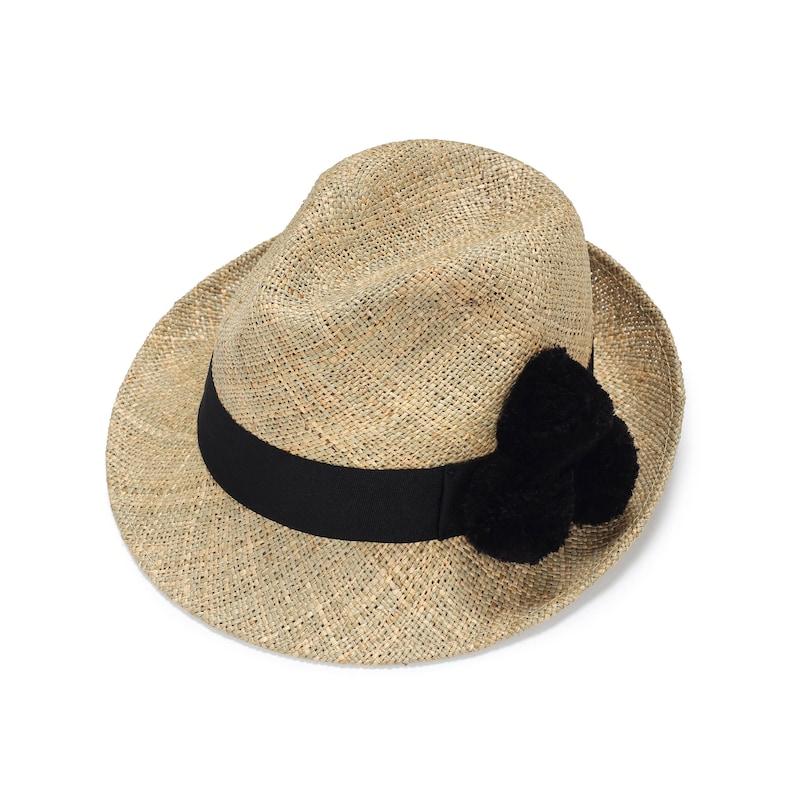 9905d45a3bb Classic Fedora Straw Hat With Pompom Womens Straw Fedora Hat