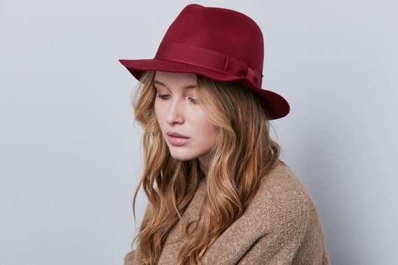 Dark red floppy felt fedora hat Winter felt hat Women felt  94e0e401663