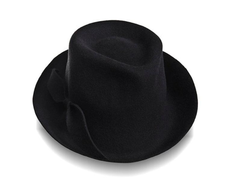 Sombrero de fieltro de sombrero en sombrero Fedora negro  0aa2af8de02
