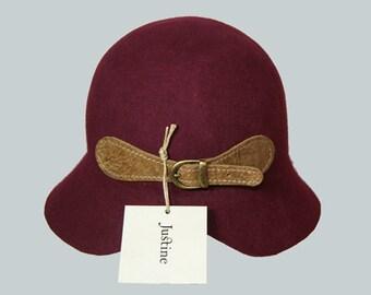 HAT ON SALE, Felt cloche hat , Women Bordeaux Hat