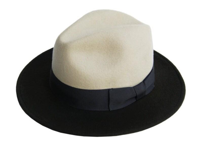 ed754cd6f78f9 Two tone fedora hat Mens fedora hat Fedora felt hat