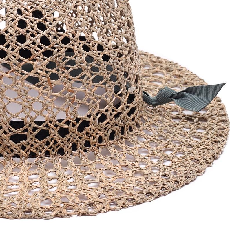 sun hat beach hat Womens straw hat with threaded grosgrain band summer hat fashion hat Crochet straw hat for women