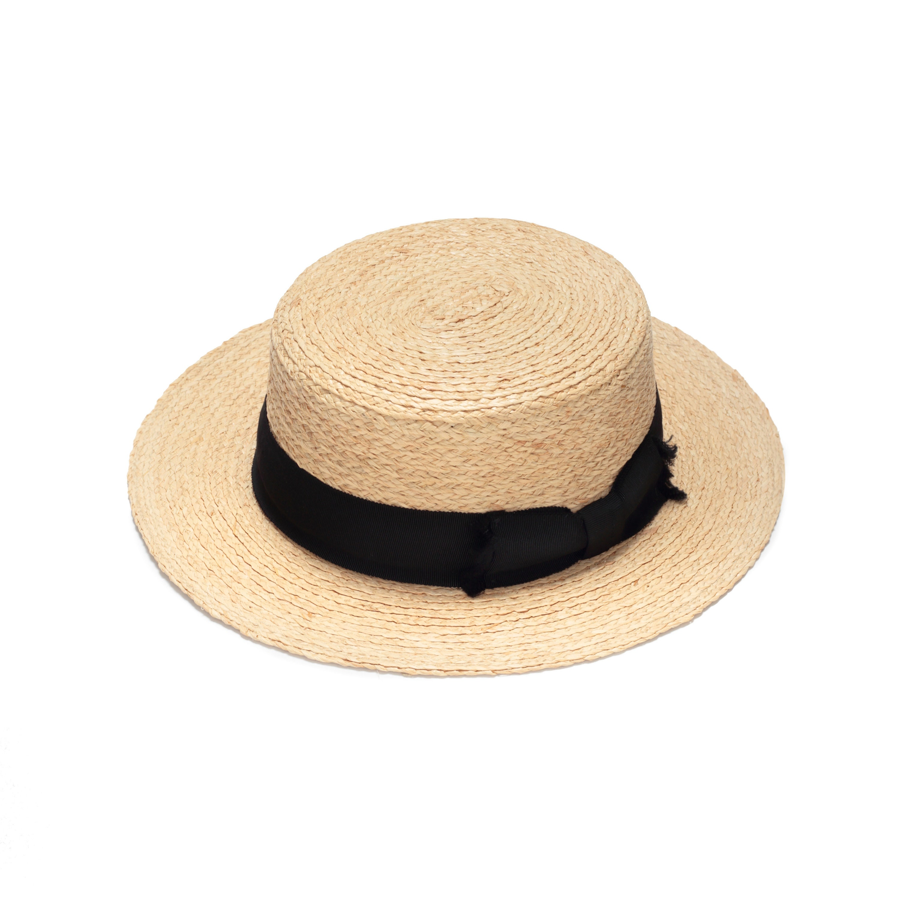 Classic boater hat with decorative black band hat for women  86eeb7ecb17
