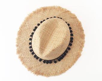 Summer straw hat with black pompom band , unraveled fedora sun hat , beach hat , straw hat , women straw hat ,fashionable straw hat ,men hat