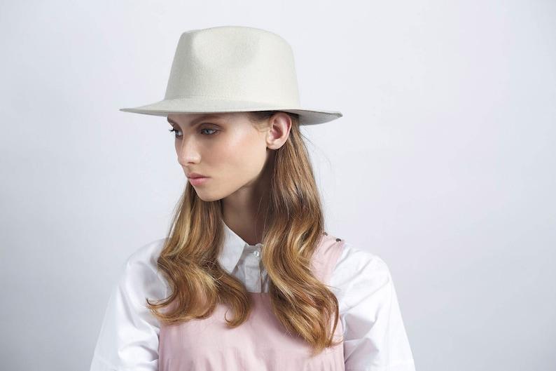 Classic ivory felt fedora hat hats for women hats for men  4dd4da7019b