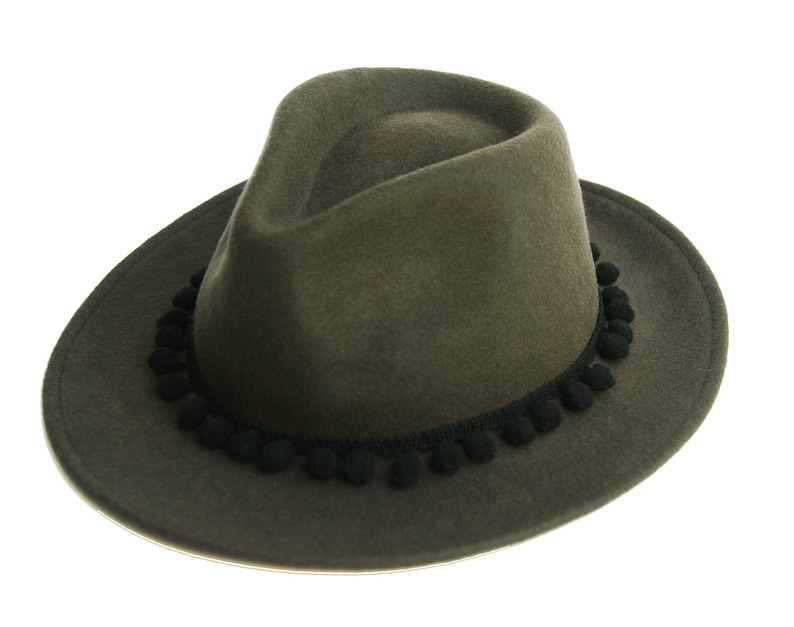 87a83194db Navy Green Fedora Hat With Black Pompoms Womens Fedora Hat