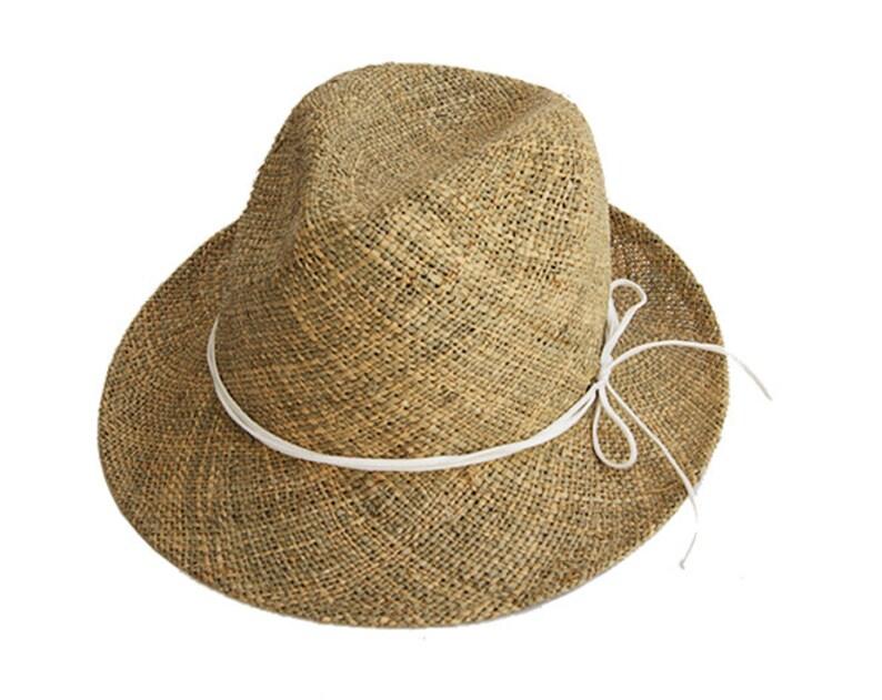 8f6a65dd494 Classic Fedora Straw Hat Womens Straw Fedora Hat Mens | Etsy