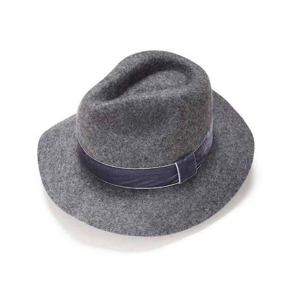 Floppy felt fedora hat with velvet band Womens Felt fedora  b60de1e0d39a