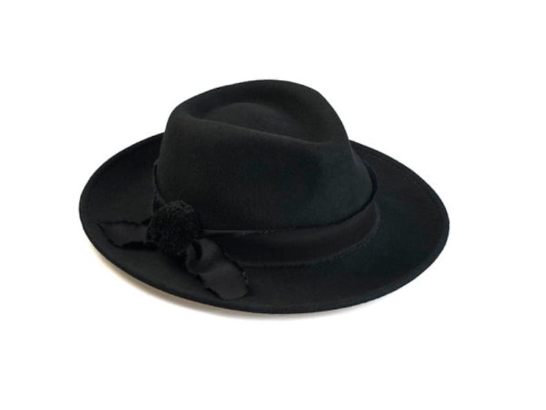 670a20905 Classic fedora hat with handmade band and pompom , Womens fedora hat ,  Fedora felt hat , Winter Felt Hat , Fedora