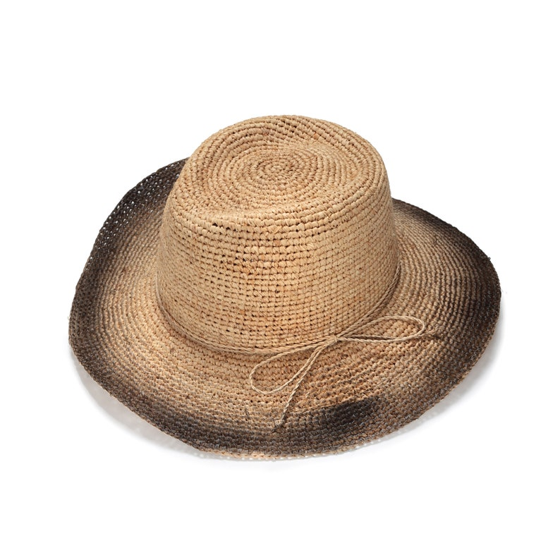 f2349ab3 Wide brim black fedora straw hat Mens straw fedora hat | Etsy