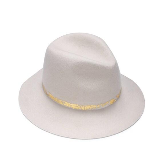 a3a07a28b48 Felt fedora hat with gold foil print hats for women hats
