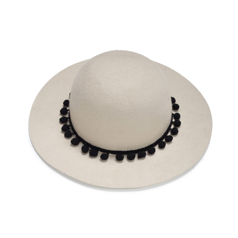 5aa9d3a07048fa Womens Hat Classic Felt Hat With Black Pompom Band Womens | Etsy
