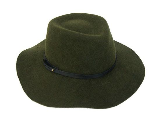Floppy Fedora Hat   Green Navy Fedora Hat   Womens Hat   Mens  9244b89c54e