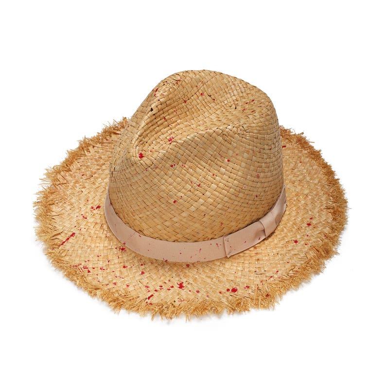Estate cappello di paglia con fascia in grosgrain rosa e  b0af6028b9e3