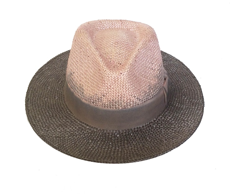 Straw fedora hat for womens and for men hat Two tone  b7b44949096