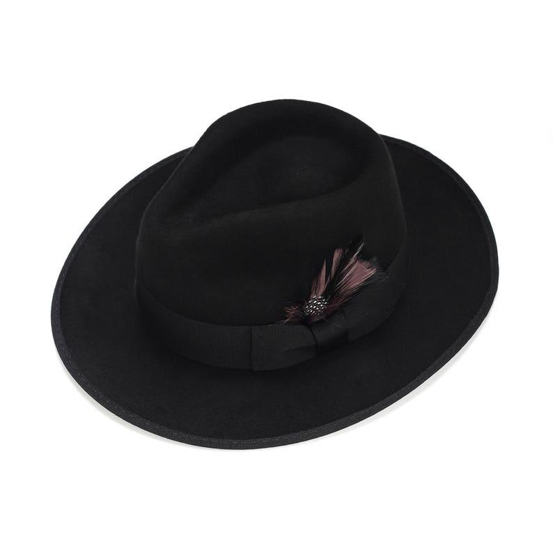 de126a407f5 Felt Fedora Hat with a feather Mens Hat Wide Brim Felt Hat | Etsy