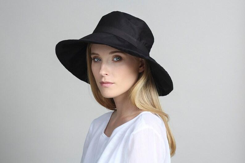346c3846776812 Black cotton hat Womens summer hats Womens hat Beach hat   Etsy