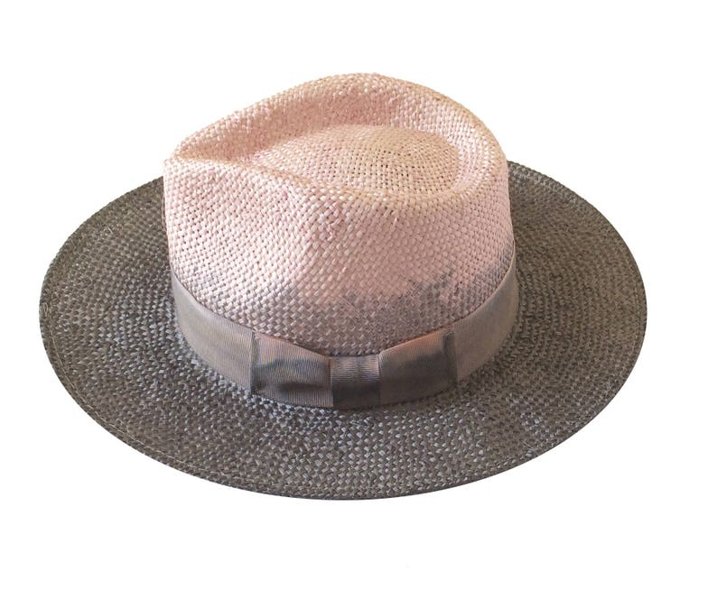 74fb4d3c250e3 Straw fedora hat for womens and for men hat Two tone